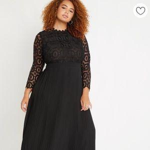 NWT Eloquii Lace Evening Dress w/pleated skirt 24W